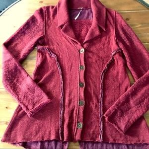 FREE PEOPLE Red Wool Button Cardigan Sweater Small